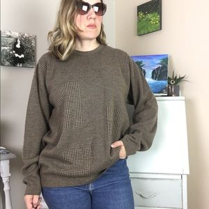 Men's Izod Brown Wool Crew Neck Dad Sweater XL